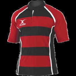 Gilbert Xact rugby shirt gestreept rood/zwart Maat L