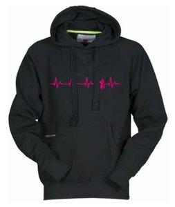DENZZ Hoody zwart Unisex model met fluor rose hartslag