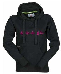 DENZZ Dames Hoody zwart met fluor rose hartslag logo